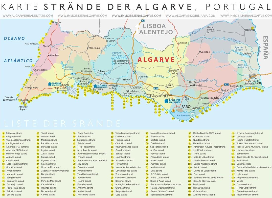algarve strände karte 133 Strände der Algarve :. Portugal